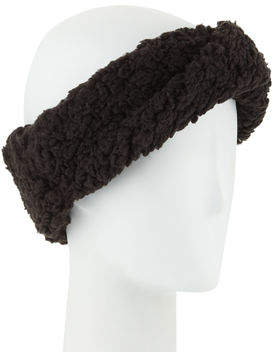 Neiman Marcus Teddy Fleece Twisted Headband