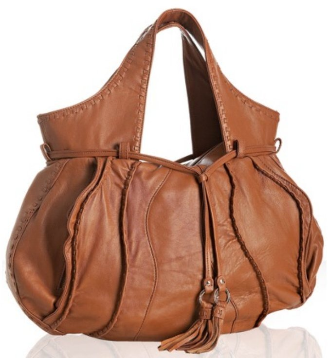 Junior Drake cognac whipstitch leather 'Bianca' large shoulder bag