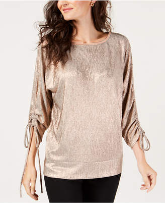 JM Collection Metallic Cinched-Sleeve Top