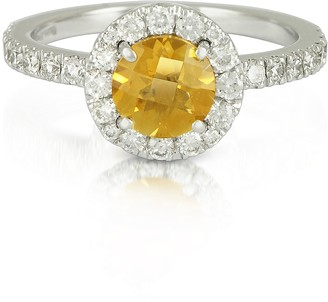 Forzieri 0.50 ct Diamond Pave 18K White Gold Ring w/Citrine Quartz