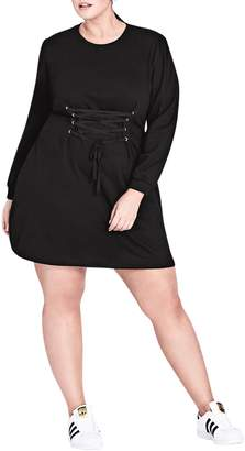City Chic Corset Waist Tunic Dress