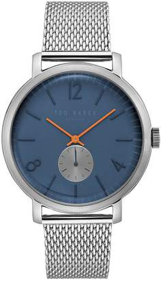 Ted Baker Navy And Red Detail Dial Stainless Steel Mesh Strap Mens Watch