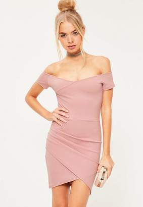 Missguided Wrap Bardot Bodycon Dress Pink