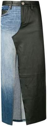 Amiri mixed material long skirt
