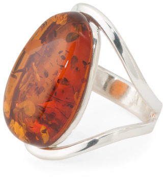 Handmade In Poland Sterling Silver & Baltic Amber Open Ring