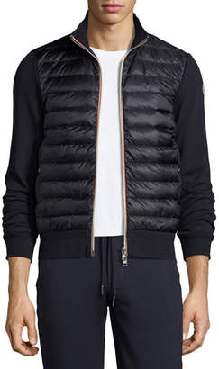 Moncler Full-Zip Down Cardigan, Navy