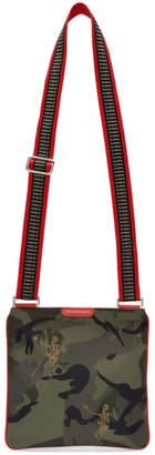 Alexander McQueen Khaki Dancing Skeleton Crossbody Messenger Bag