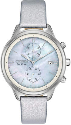 Citizen Women Chronograph Eco-Drive Chandler Silver-Tone Vegan Leather Strap Watch 39mm