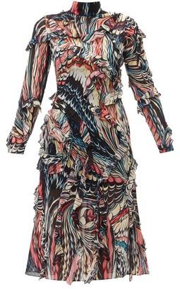 Mary Katrantzou Abstract Print Ruffled Silk Georgette Dress - Womens - Black Multi