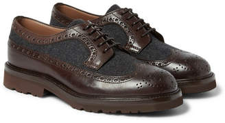 Brunello Cucinelli Tweed-Panelled Leather Wingtip Brogues