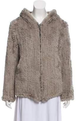 Adrienne Landau Hooded Fur Jacket