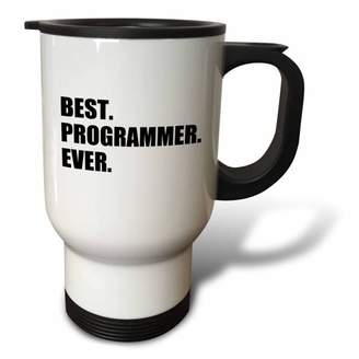 3dRose Best Programmer Ever, fun gift for talented computer programming, text, Travel Mug, 14oz, Stainless Steel