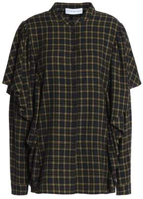 Robert Rodriguez Ruffle-Trimmed Checked Cotton-Flannel Shirt