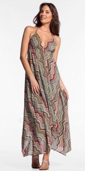 Elan International Ziggy Print Halter Maxi Dresses