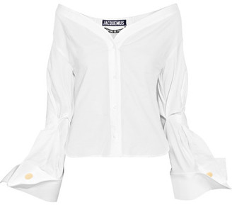 Jacquemus - Off-the-shoulder Cotton-piqué Shirt - Off-white $415 thestylecure.com