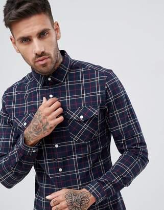 Asos Design DESIGN stretch slim check western shirt in navy & red