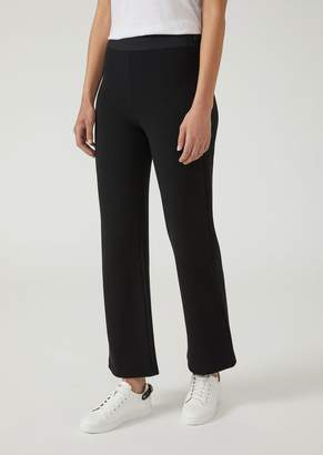 Emporio Armani Ottoman-Effect Jersey Trousers With Flared Cut