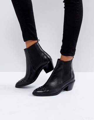 H By Hudson Stud Toe Leather Boot