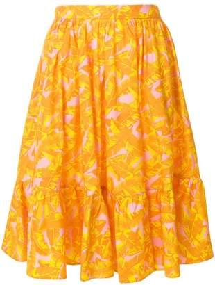 MSGM leaf print midi skirt