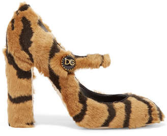 Dolce & Gabbana Tiger-print Faux Fur Mary Jane Pumps - Leopard print