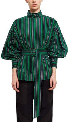Opening Ceremony Stripe Belted Long-Sleeve Top