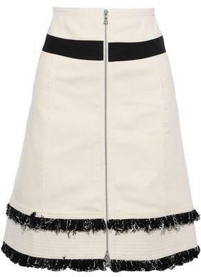 Derek Lam Zip-Detailed Frayed Cotton-Blend Canvas Skirt