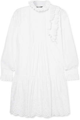 McQ Ruffled Broderie Anglaise Cotton Mini Dress - White