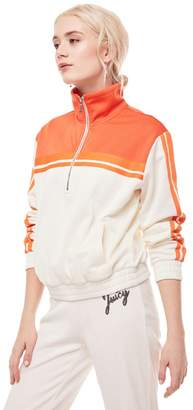 Juicy Couture Stripe Tricot Half Zip Track Jacket