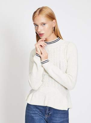 Miss Selfridge Cream cable peplum knitted jumper