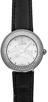 Charmex ラスベガス6306 35 mmステンレススチールCase Black Calfskin Synthetic Sapphire Women 's Watch