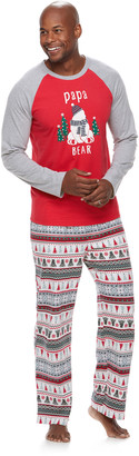 "Cuddl Duds Men's Jammies For Your Families Polar Bear Fairisle Family Pajamas ""Papa Bear"" Top & Bottoms Set"