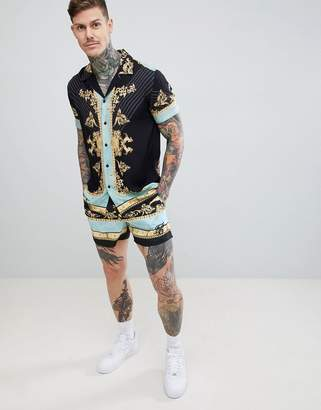 SikSilk shirt in black and gold print