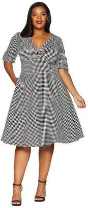 Unique Vintage Plus Size 1950s Delores Swing Dress with Sleeves Women's Dress