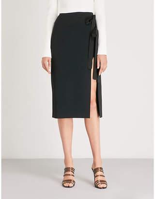 David Koma Side-split cady midi skirt