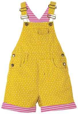 Frugi Organic Children's Cord Dungaree Shorts, Yellow