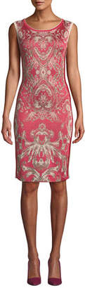Naeem Khan NK32 Cap-Sleeve Damask-Print Cocktail Dress with Side Stripes