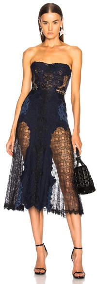 JONATHAN SIMKHAI Grommet Lariat Lace Bustier Midi Dress