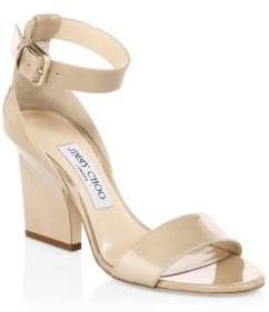 Jimmy Choo Edina Patent Leather Ankle-Strap Sandals