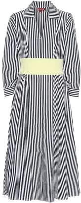 STAUD Harper striped cotton shirt dress