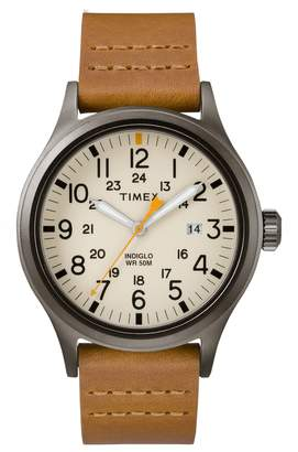 Timex R) Allied Leather Strap Watch, 40mm