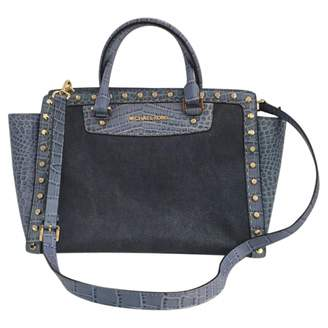 Michael Kors 100% Authentic Blue Satchel Selma Pick Stitch Studded Large Top Zip Bag Tote