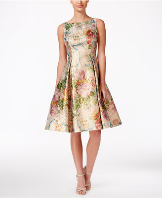 Adrianna Papell Metallic Floral-Print Fit & Flare Dress $249 thestylecure.com
