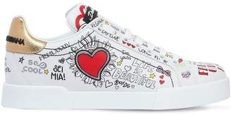 Dolce & Gabbana 20mm Graffiti Leather Sneakers