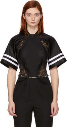 Alexander Wang Black Lace Jersey Hybrid T-Shirt