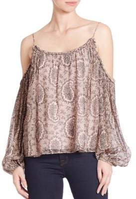 Maylin Paisley Cold-Shoulder Silk Blouse