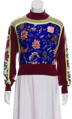 Diane von Furstenberg Knit Printed Cropped Sweater w/ Tags