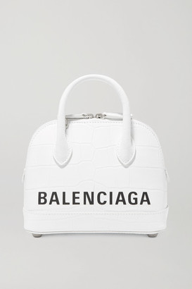 Balenciaga Ville Xxs Aj Printed Croc-effect Leather Tote - White