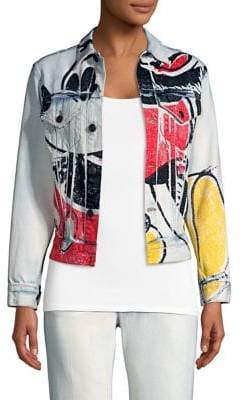 Marc Jacobs Mickey Print Cropped Denim Jacket