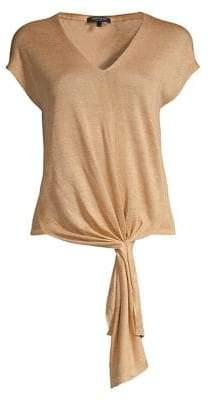Lafayette 148 New York Tie-Front Linen-Blend Knit Top