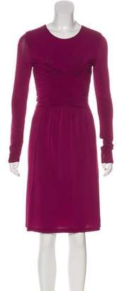 Burberry Long Sleeve Ruched Dress